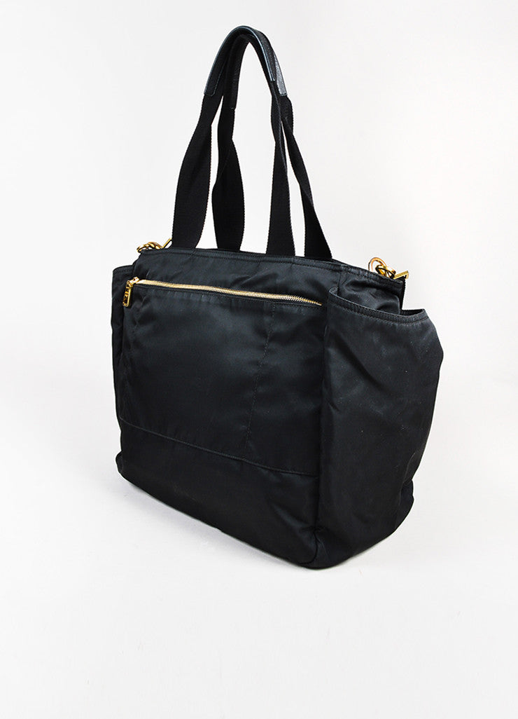 "Prada Black and Gold Toned Tessuto Nylon Zip Diaper ""Baby Bag"" Tote Bag Sideview"