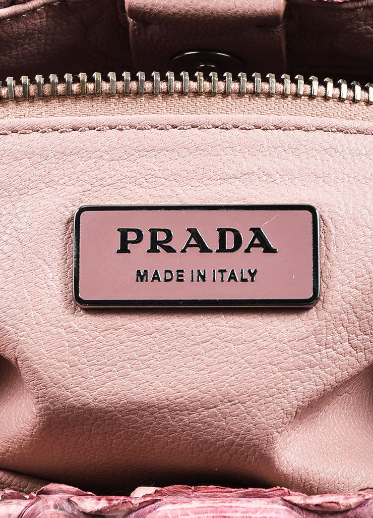 Prada Pink, Purple, and Yellow Python Lizard Trim Push Lock Flap Handbag Brand