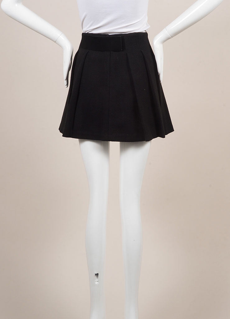 Proenza Schouler Black Wool Blend Leather Trim Pleated Mini Skater Skirt Backview
