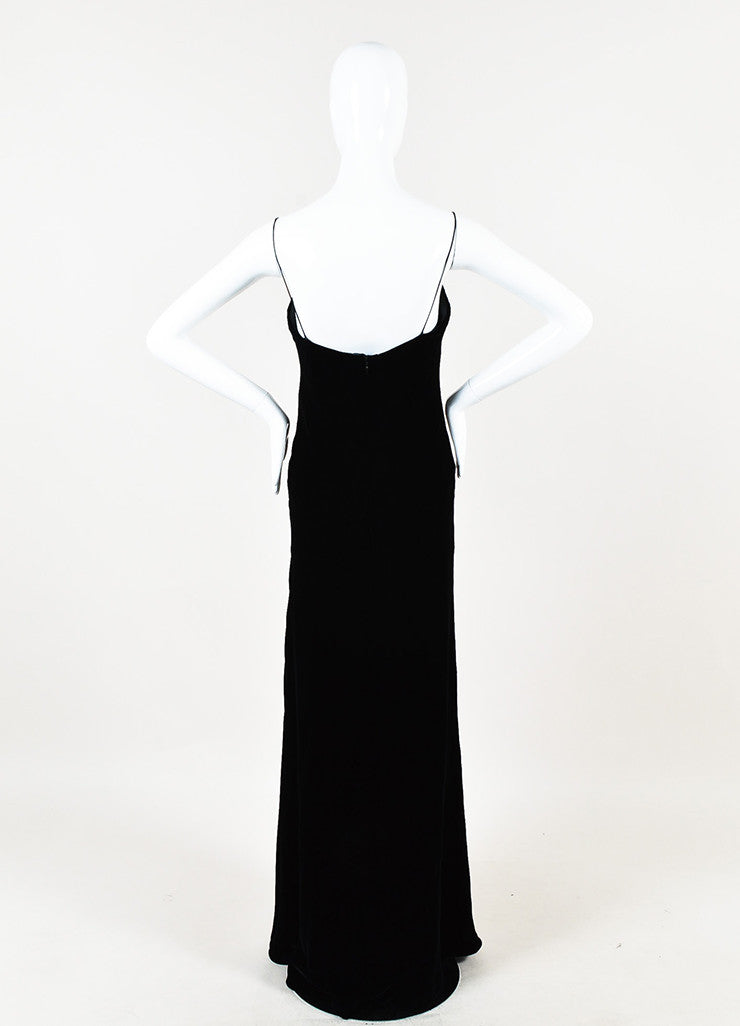 Ralph Lauren Collection Black Velvet Spaghetti Strap Full Length Gown Backview
