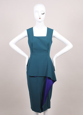 "Roksanda Ilincic New Multicolor Color Block Peplum Panel ""Ellery"" Dress Frontview"