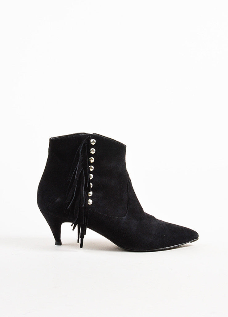 Saint Laurent Black Suede Studded Fringe Pointed Toe Cat Boots Sideview