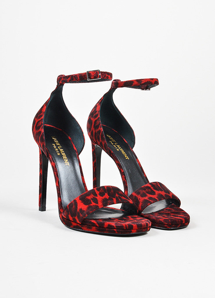 "Red and Black Saint Laurent Suede Leopard Print ""Jane"" Sandals Frontview"