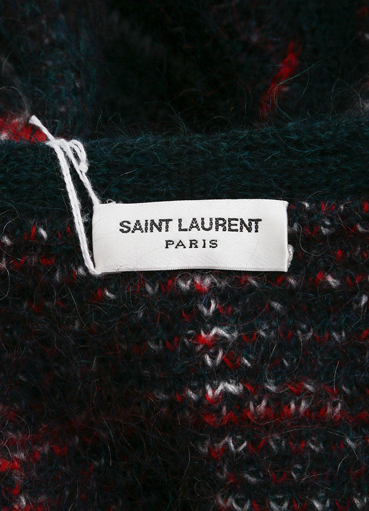 "Saint Laurent Green, Red, and White Mohair Blend ""Tartan"" Cardigan Brand"