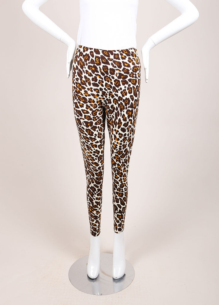 Stella McCartney Cream, Brown, and Yellow Wool Leopard Print Lightweight Pants Frontview