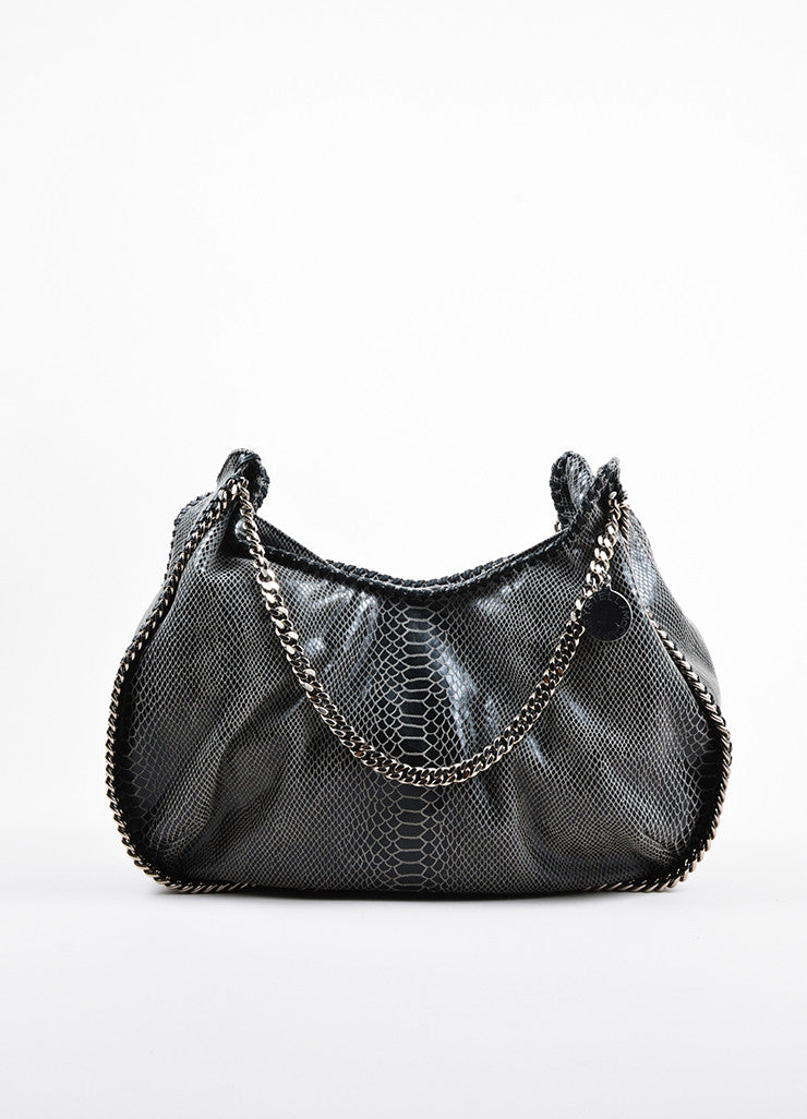 Stella McCartney Grey and Black Faux Snakeskin Print Hobo Shoulder Bag frontview