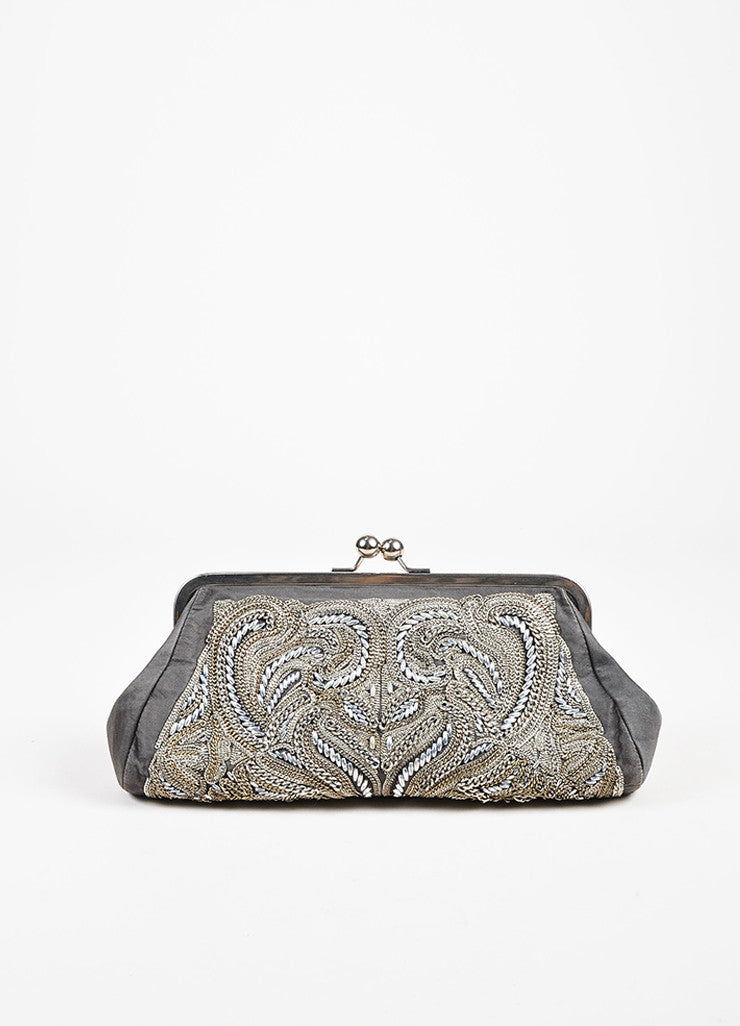 Stella McCartney Silver and Grey Chain Beaded Embellished Frame Clutch Bag Frontview