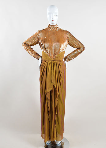 Bob Mackie Gold Sequin Long Sleeve Ruched Gown Frontview