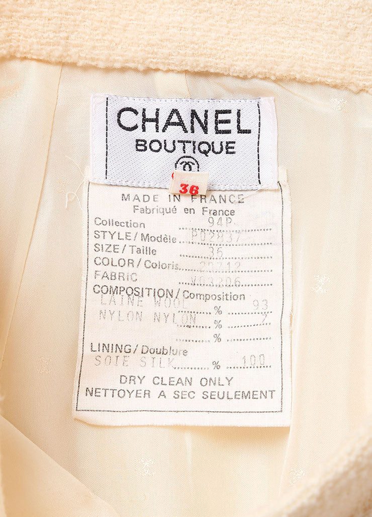 Chanel Cream Wool Tweed 'CC' Button Skirt Suit Tag 1