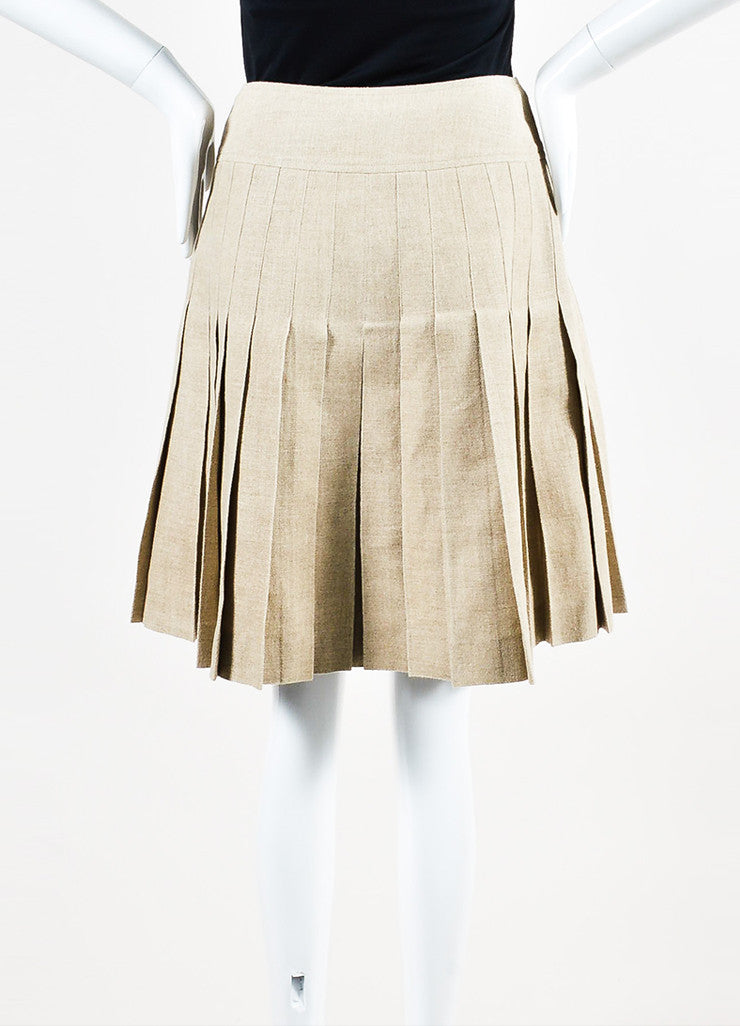 Tan Linen Chanel Gold Toned 'CC' Button Pleated Skirt Backview