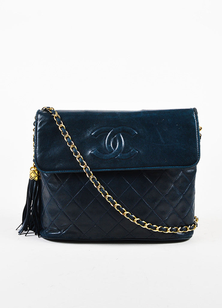 Chanel Navy Blue Leather 'CC' Flap Chain Strap Quilted Tassel Bag Frontview