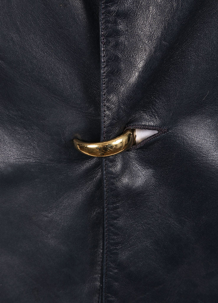Claude Montana Navy Leather Long Sleeve Coat Detail