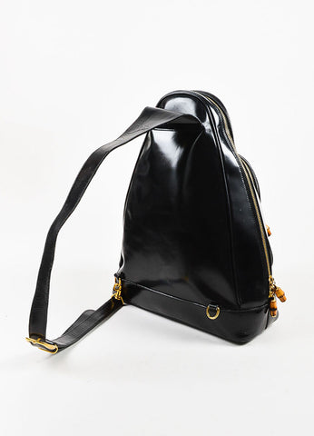 Black Patent Leather and Bamboo Accent Sling Backpack Backview