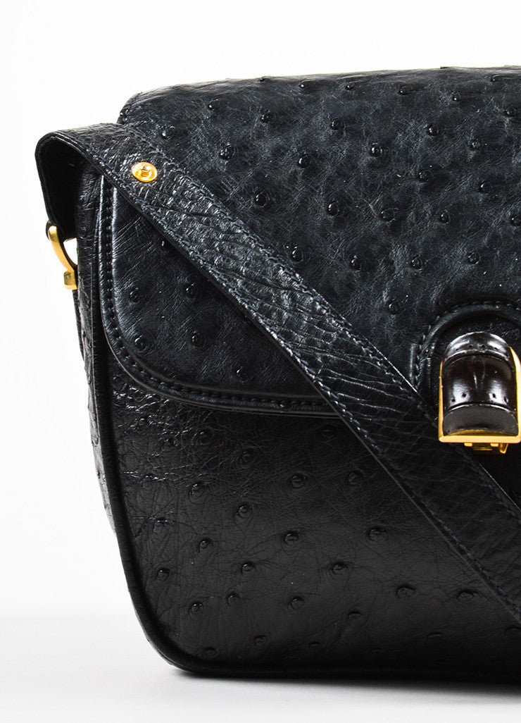 Gucci Black Ostrich Leather Cross Body Satchel Bag Detail 2