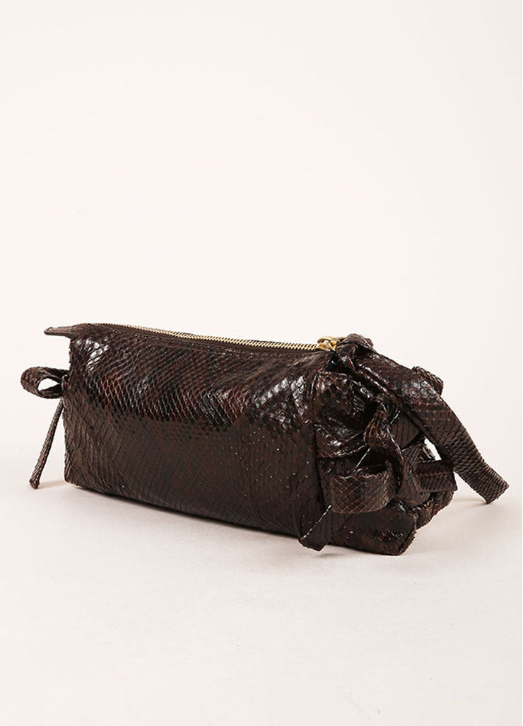 Gucci Brown Snakeskin Wristlet Clutch Bag Sideview
