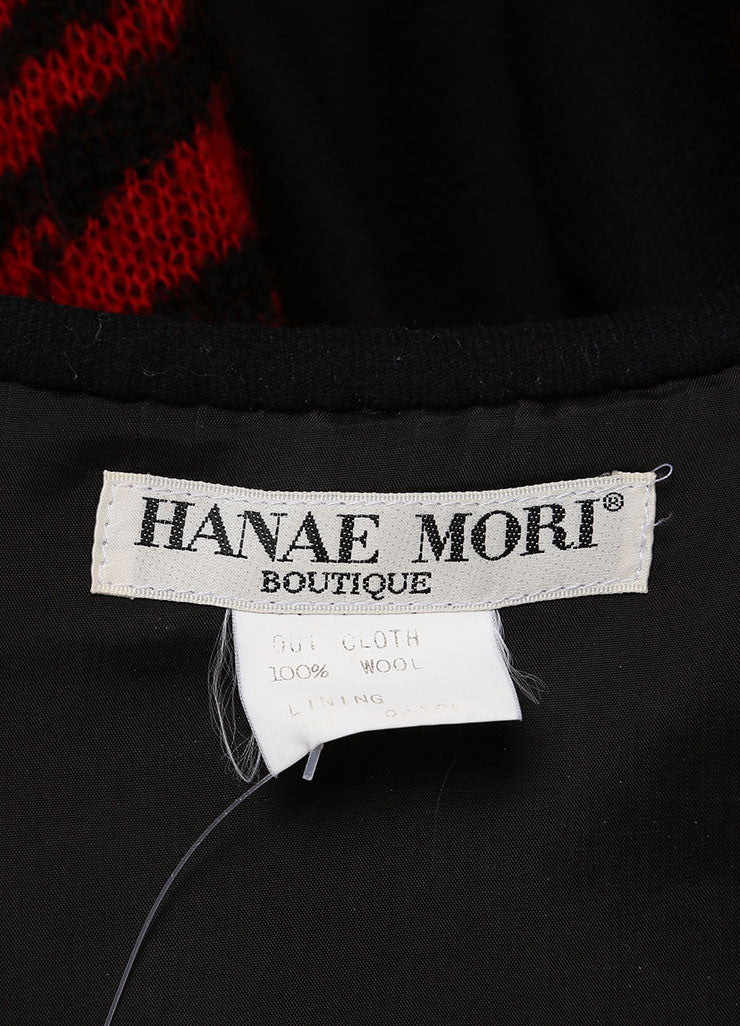 Hanae Mori Red and Black Zebra Print Front Button Wool Cardigan Brand