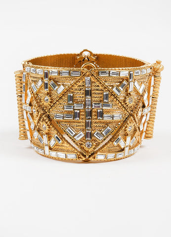 Jean Louis Scherrer Gold Toned Textured Rope Diamante Wide Bracelet