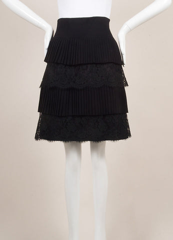 Valentino Black Wool and Silk Lace Pleated Tiered Knee Length Skirt Frontview