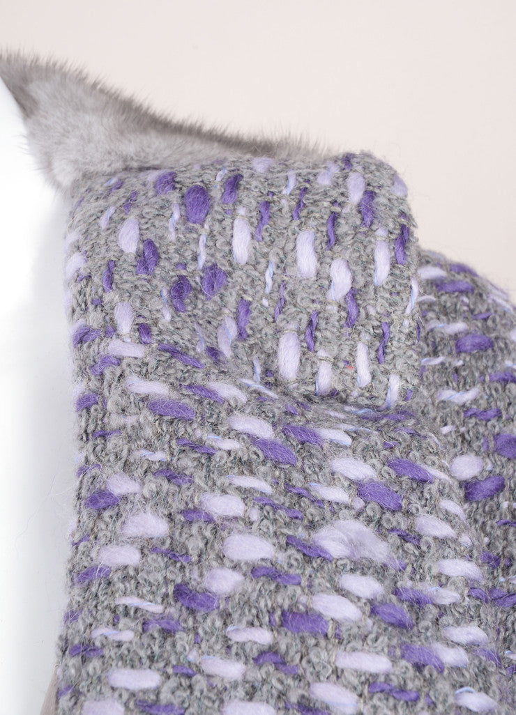 Valentino Grey and Purple Wool Woven Knit Fur Trim Long Sleeve Coat Detail