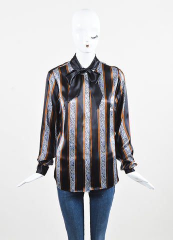 "Veronica Beard Black and Brown Silk Striped Tie Neck ""Tahoe"" Blouse Frontview"