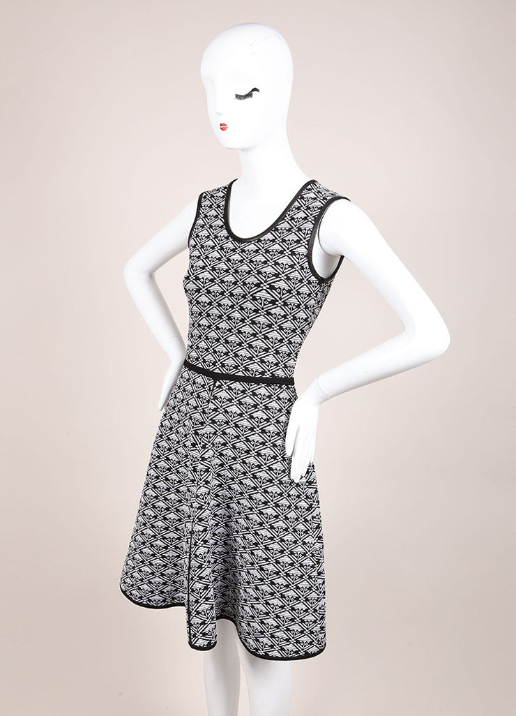 Yigal Azrouel White and Black Stretch Knit Printed Sleeveless Skater Dress Sideview