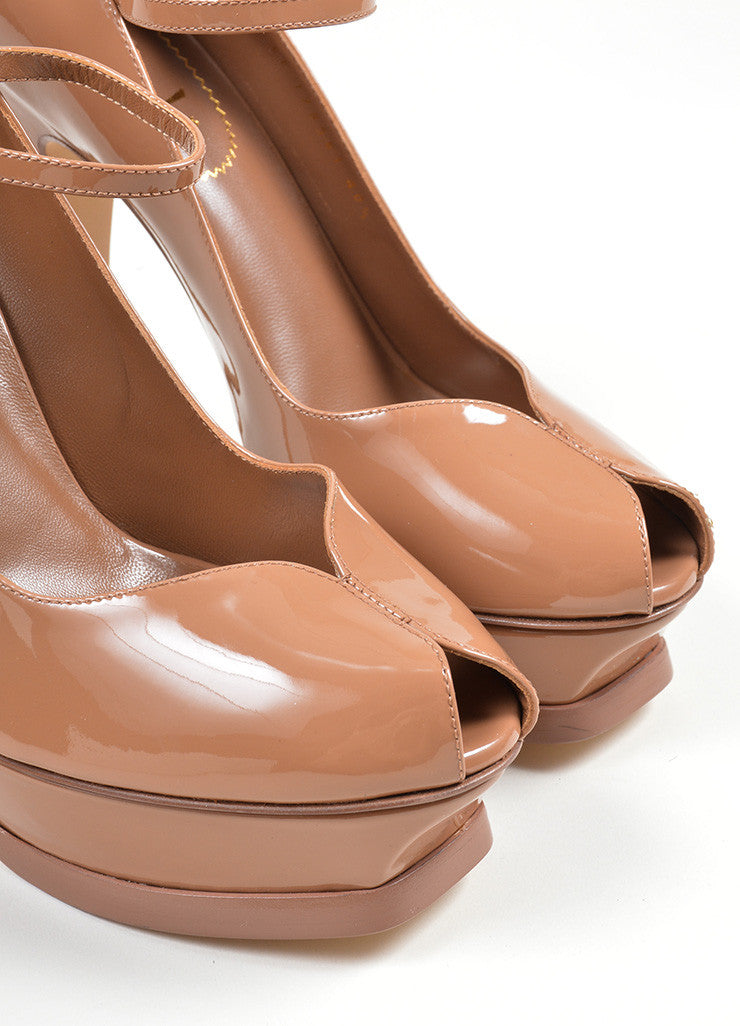 "Brown Yves Saint Laurent ""Tribute"" Mary Jane Plaform Pumps Detail"