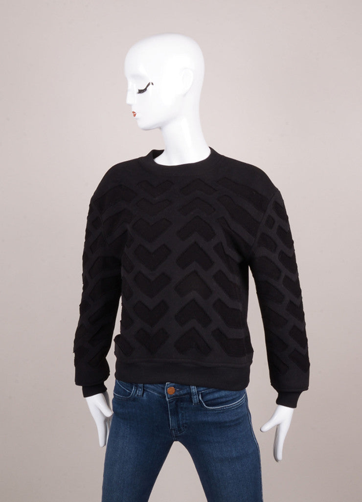 New With Tags Black Chevron Patch Cotton Sweatshirt
