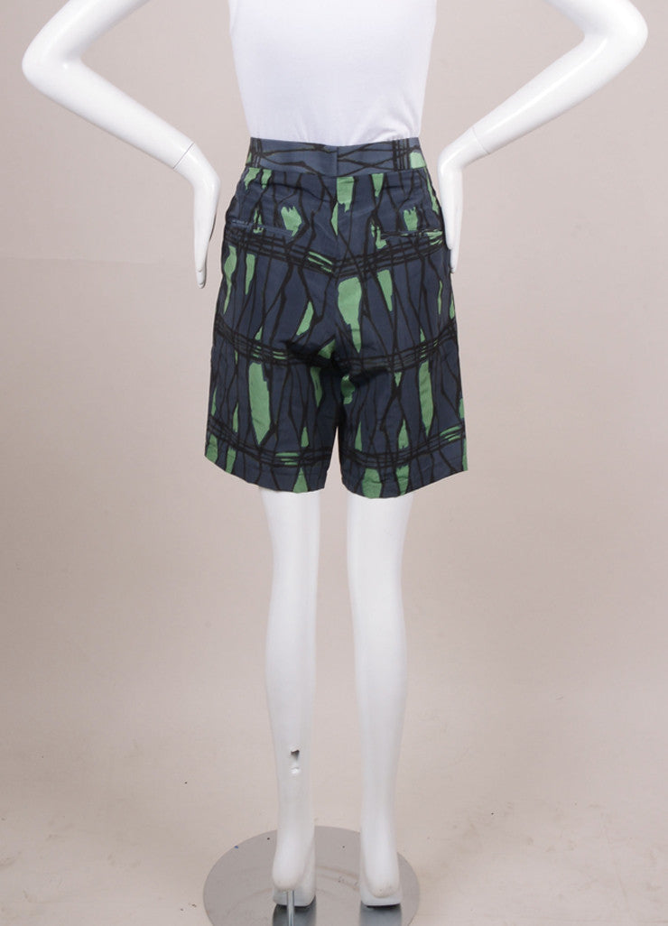 Navy, Grey, and Green Printed Mid Thigh Silk and Nylon Shorts