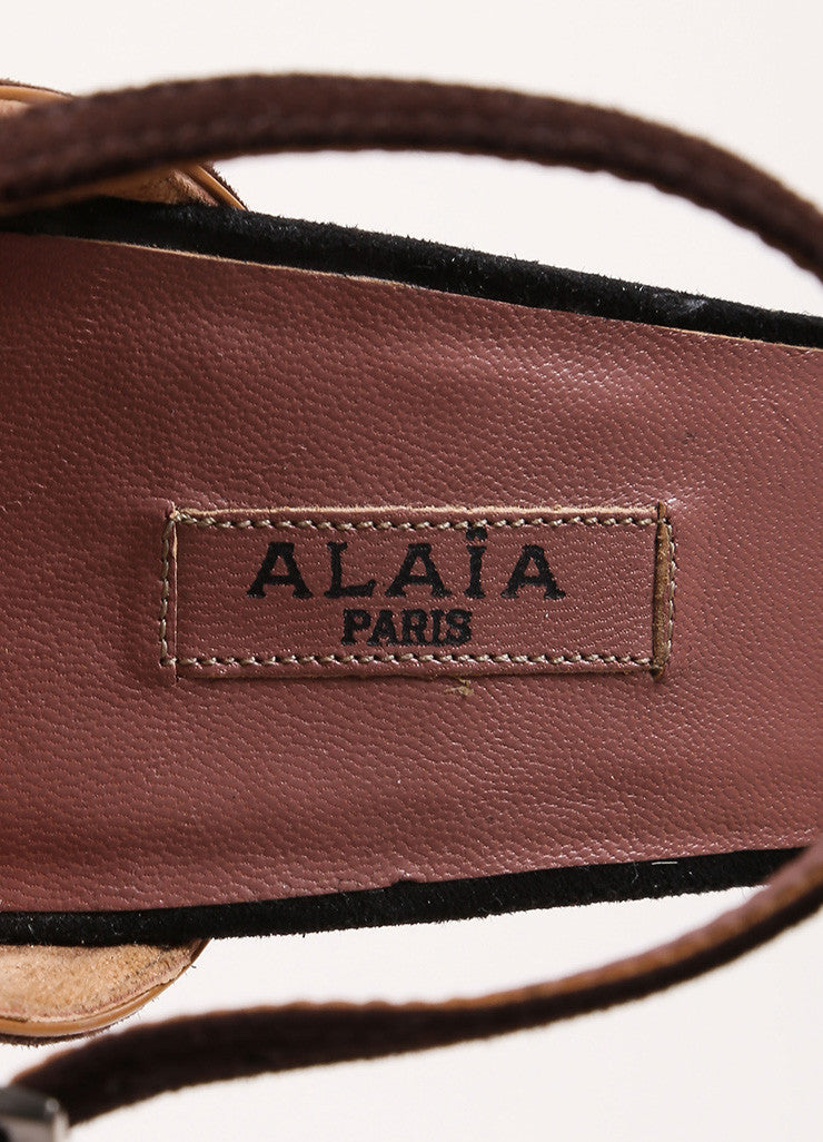 Alaia Black and Brown Suede Ankle Strap Lace Up Back Close Toe Wedges Brand