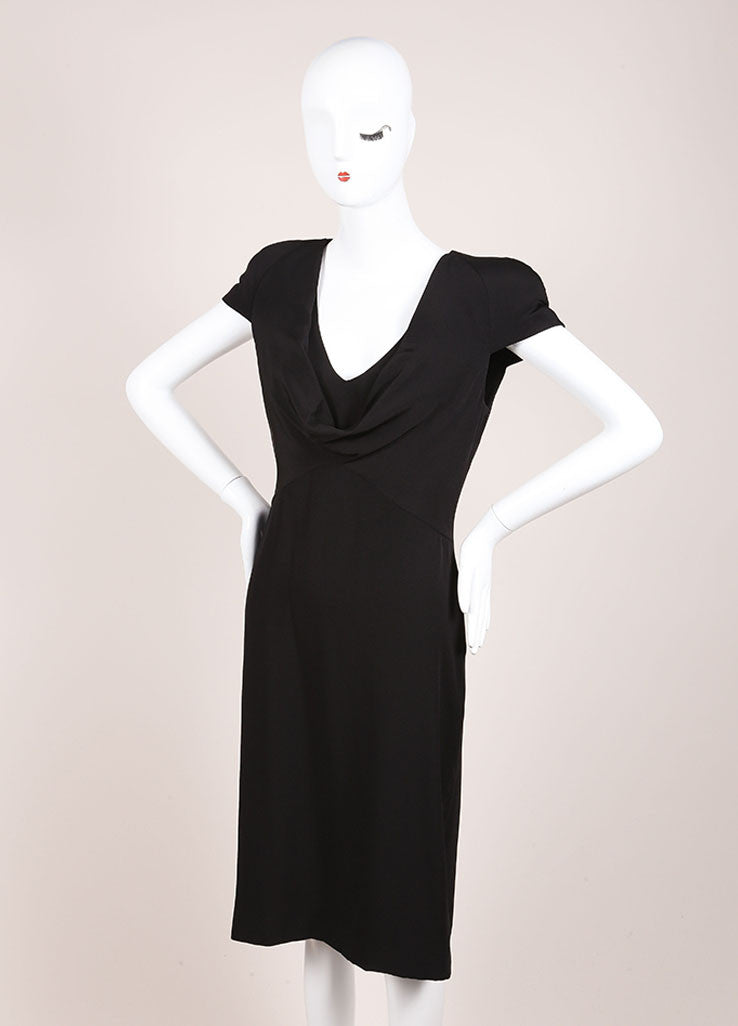 Alexander McQueen New With Tags Black Padded Cap Sleeve Drape Neck Silk Dress Sideview