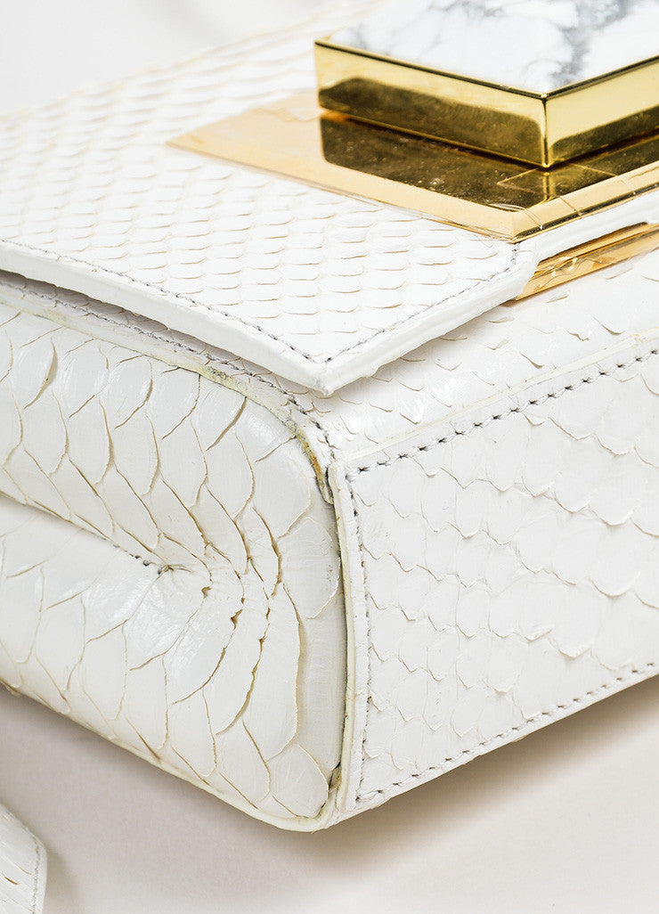 Andrew Gn White Python Skin Turn Lock Mini Brief Cross Body Bag Detail