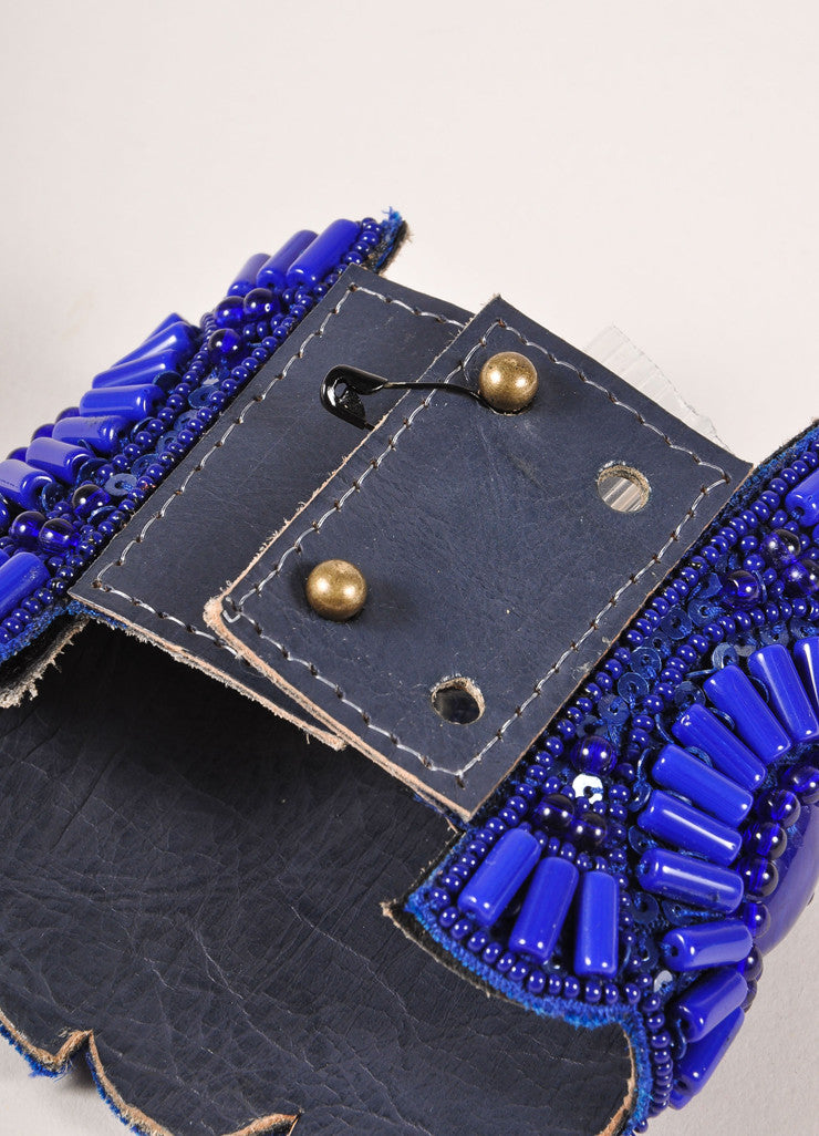 Andrew Gn New Blue Beaded Large Leather Cuff Bracelet Backview