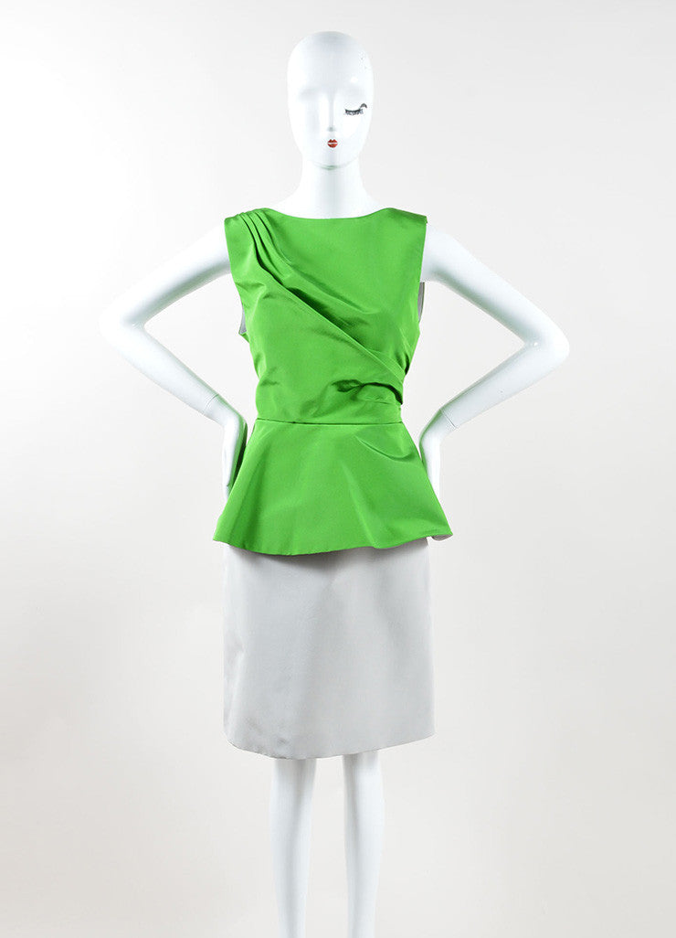 Andrew Gn Green and Grey Color Block Woven Taffeta Peplum Dress Frontview