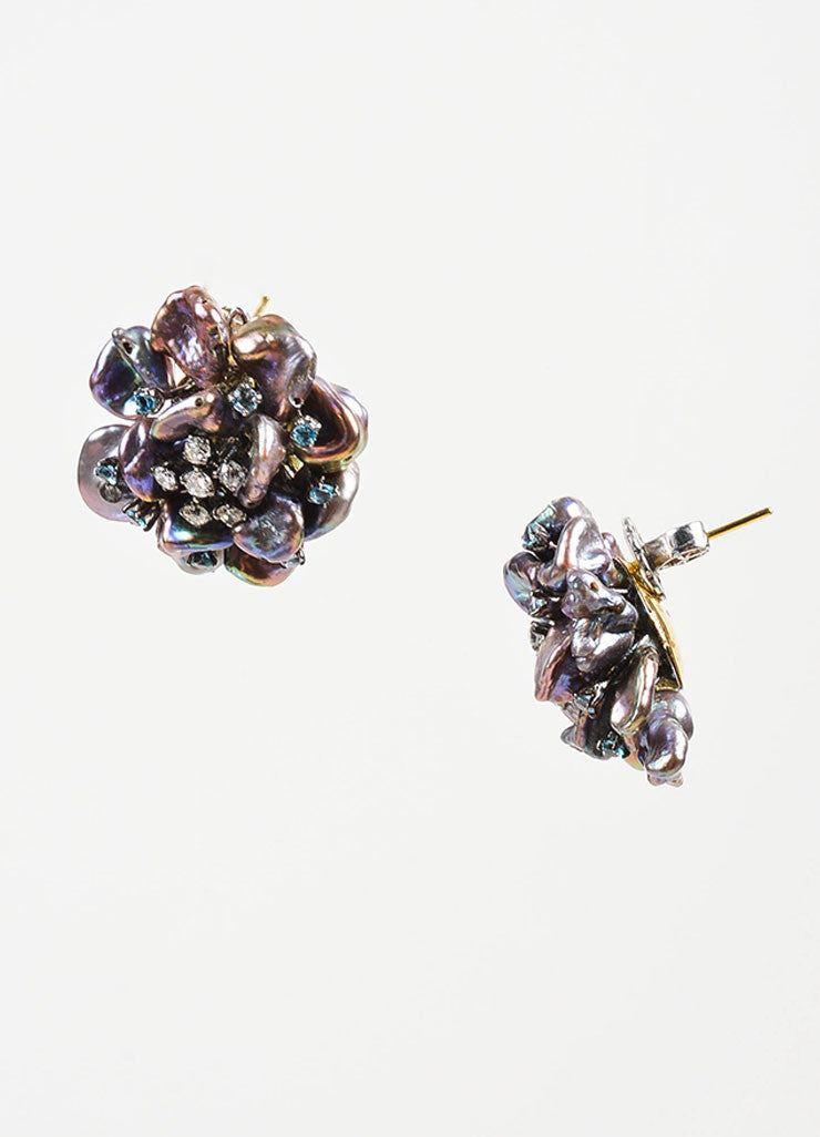 Black Pearl, Sapphire, Diamond, and 14K Gold Anuj Flower Post Earrings Sideview