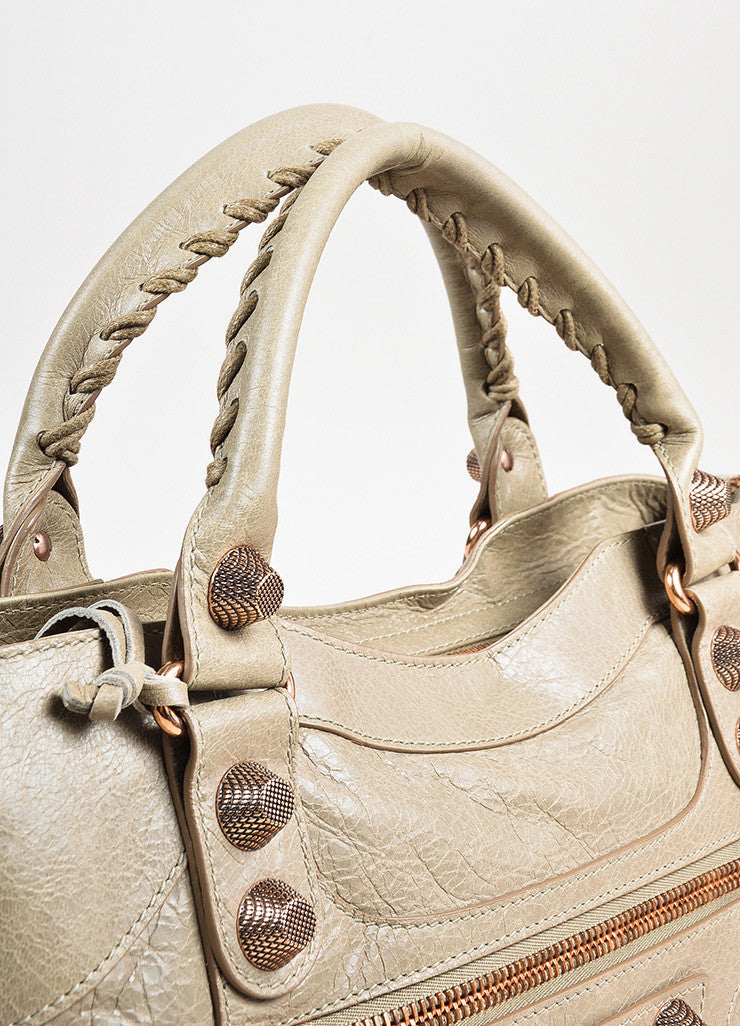 "Balenciaga ""Papyrus"" Taupe Rose Gold Toned Leather ""Giant 21 City"" Bag Detail 2"