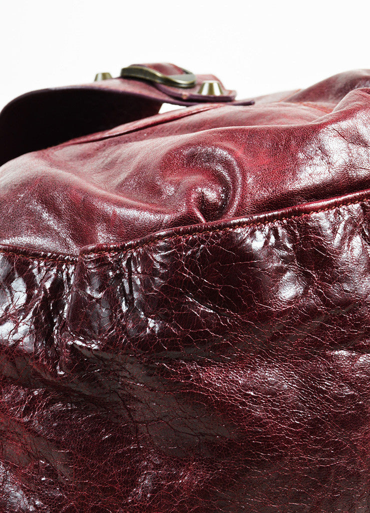 "Balenciaga Burgundy Leather ""Shrug"" Hobo Bag Detail"