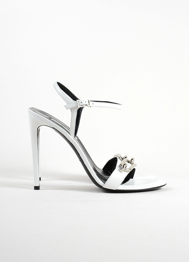 Balenciaga White and Silver Leather Strappy Buckle Maillon Sandal Sideview