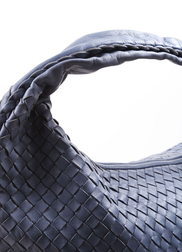 "Bottega Veneta Blue Basketwoven Intrecciato Leather ""Maxi Veneta"" Hobo Bag Detail 2"