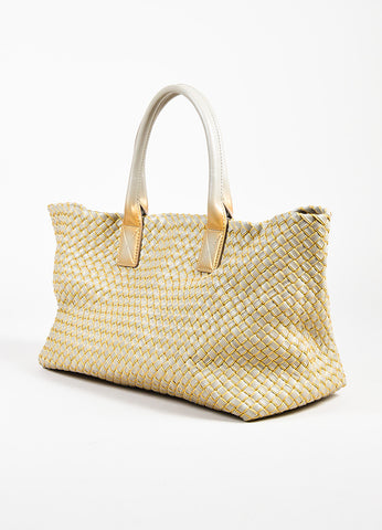 "Bottega Veneta Taupe Gold Intrecciato Woven Leather Top Handle ""Cabat"" Tote Bag Sideview"