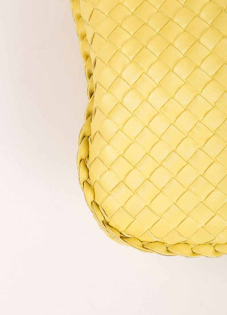 Bottega Veneta Yellow Leather Woven Hobo Shoulder Bag Detail