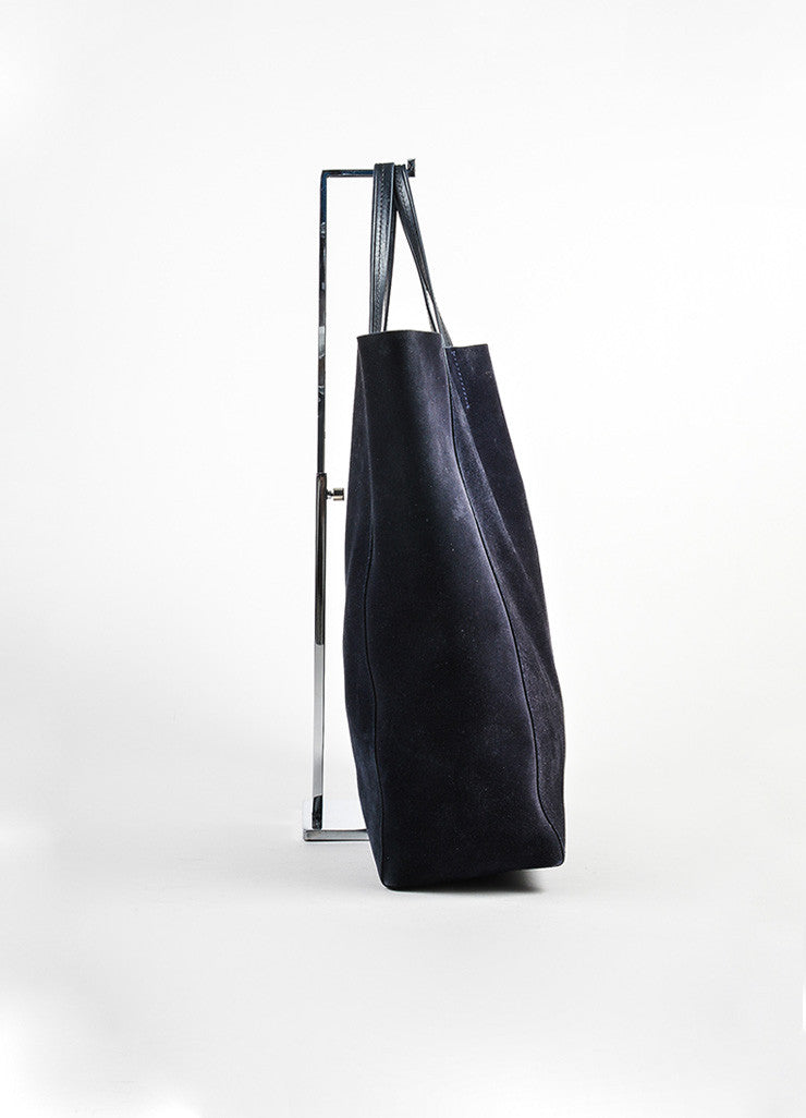 "Navy Blue and Black Celine Suede Leather ""Vertical Cabas"" Tote Bag Sideview"