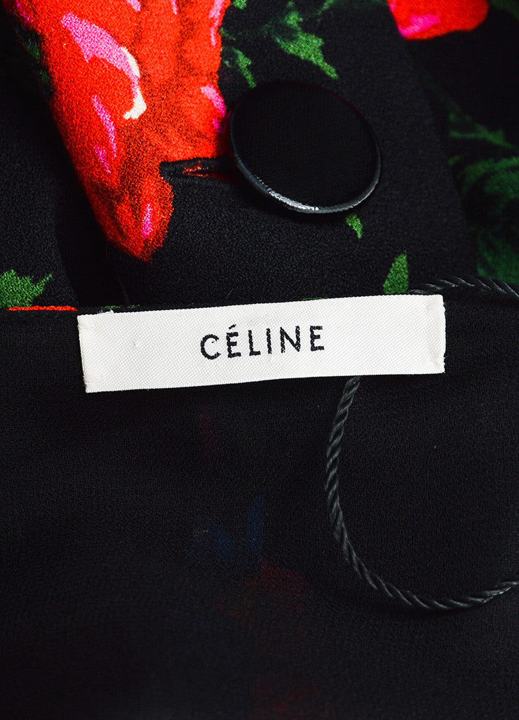 Celine Black and Multicolor Crepe Floral Draped Layered Pantsuit Brand