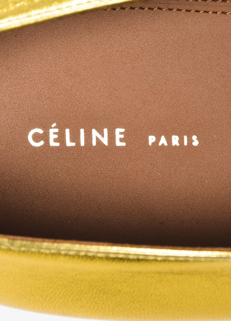 Celine Gold Metallic Leather Lace Up Oxfords Brand