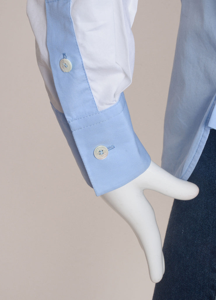 Celine White and French Blue Poplin Color Block Button Down Dress Shirt Detail