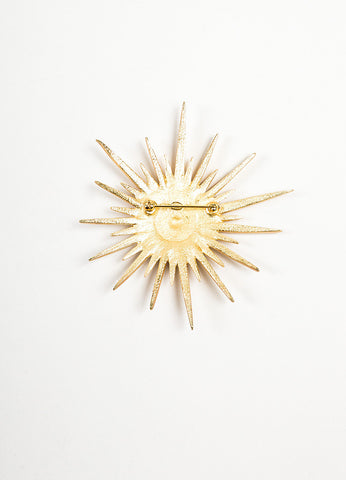 Gold Toned Chanel Rhinestone Crystal 'CC' Logo Spiked Starburst Pin Brooch Backview