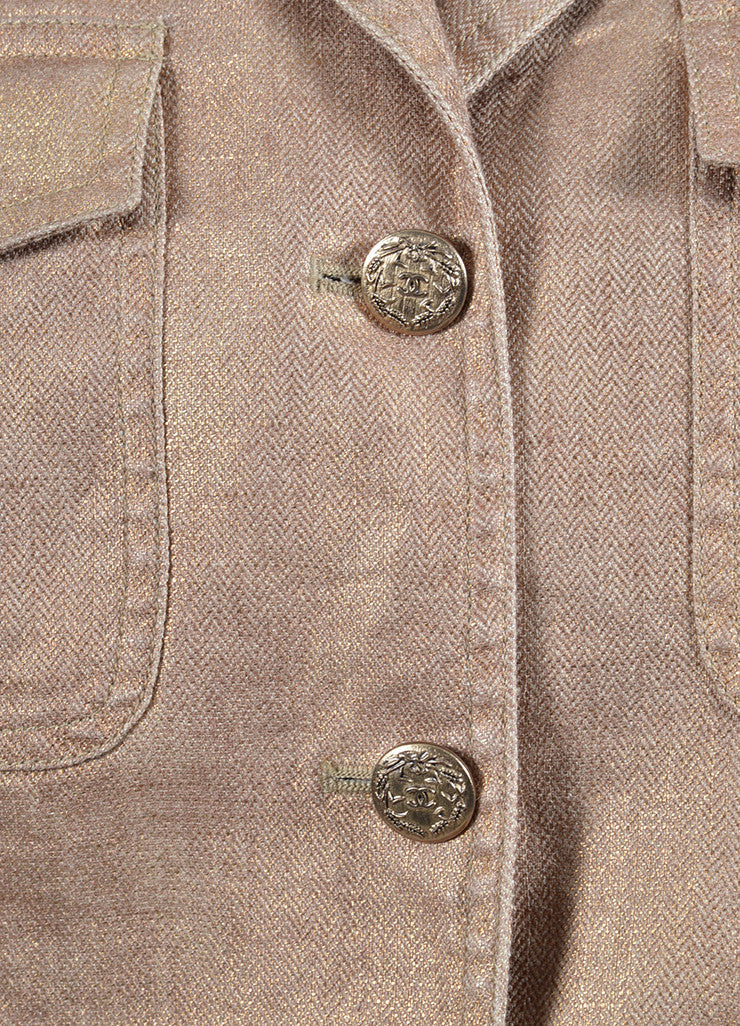 Metallic Gold Chanel Linen and Silk Button Up Jacket Detail