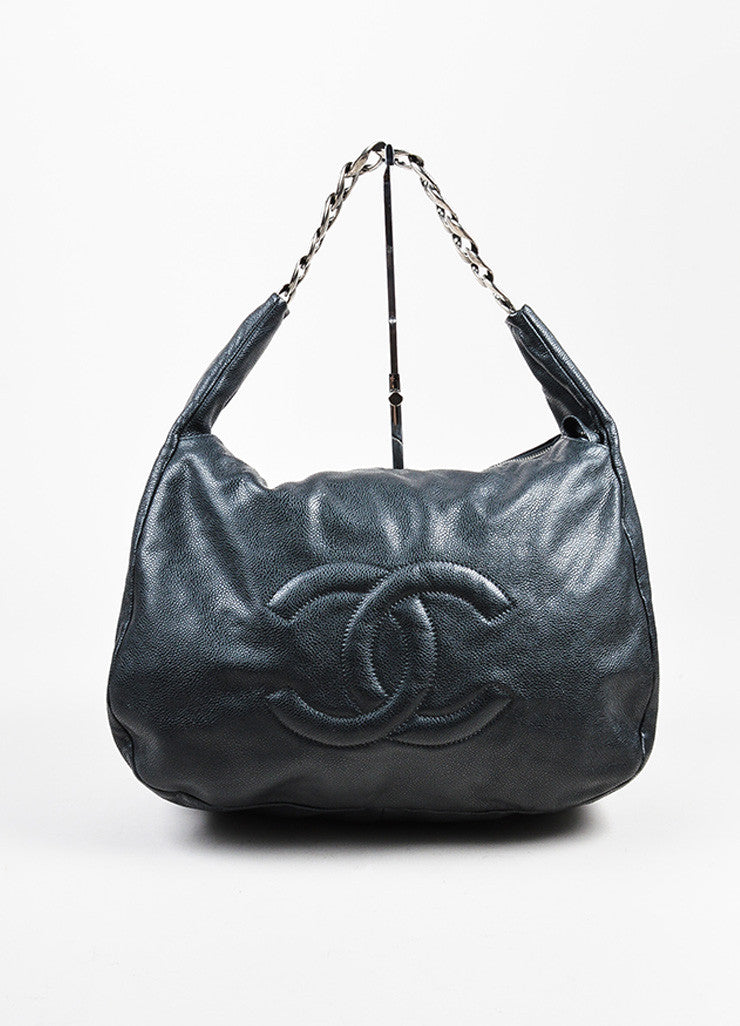 "Black Chanel Leather ""Caviar 31"" Chain Handle Hobo Bag Front"