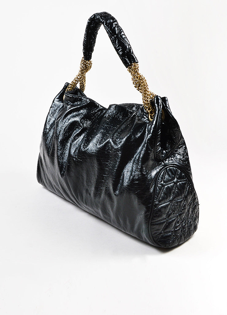 "Chanel Black Patent Crinkle Leather Gold Toned Chain ""Rodeo Drive"" Tote Bag  Sideview"