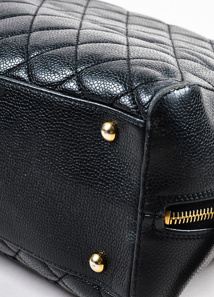 Chanel Black Quilted Caviar Leather Gold Toned 'CC' Zip Shoulder Bag Detail