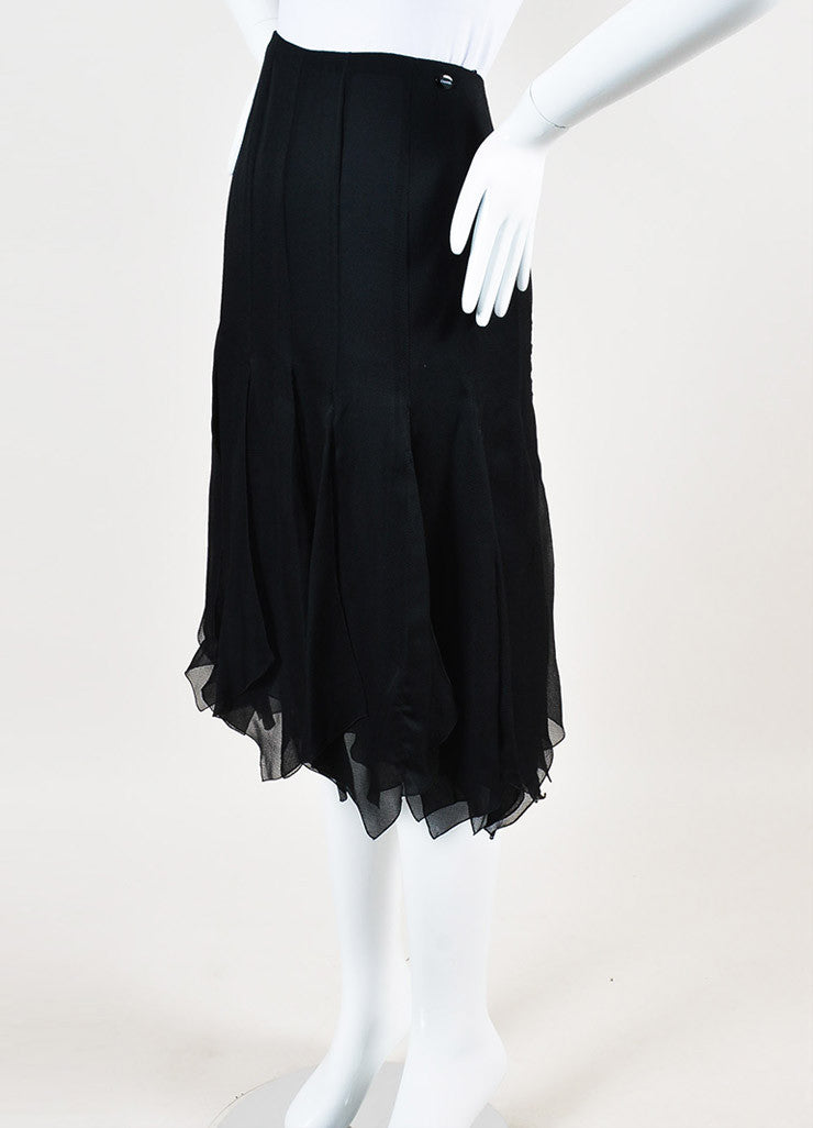 Chanel Black Silk Chiffon Zig Zag Pointed Hem Multi Slit Midi Skirt Sideview